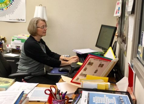 Terri Ramos, department chairperson for media and communications looks through her calendar of events. Ramos said the media center does not have any major events planned up until the holiday break.