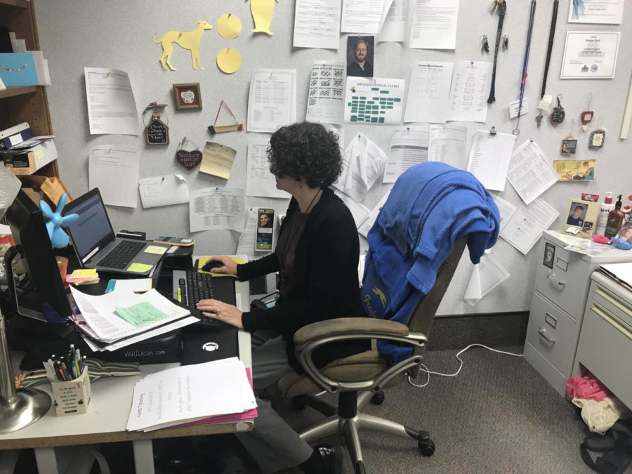 Math department chair Jacinda Sohalski quietly works at her desk. In the next few weeks, she will be working to implement new courses.