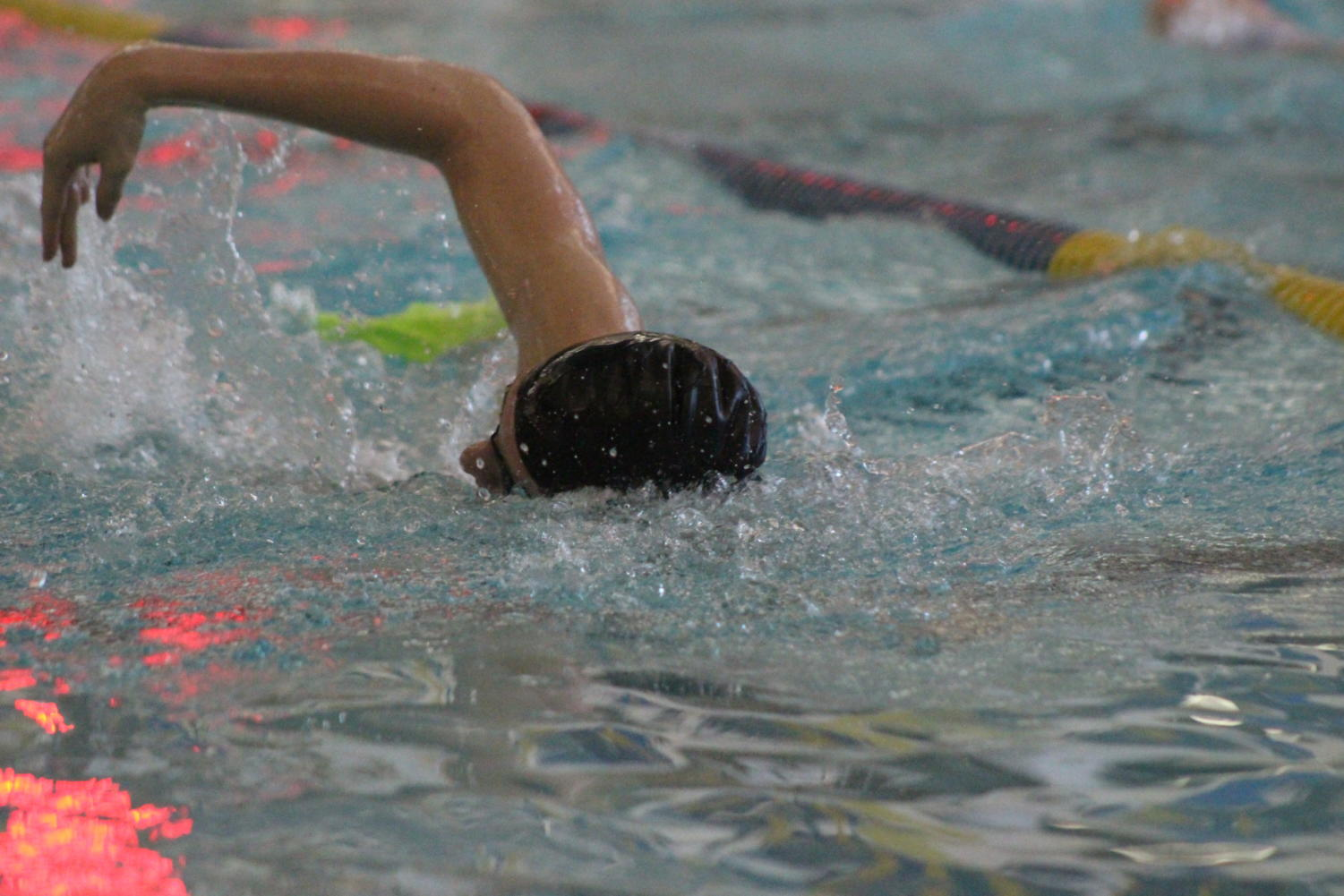 Swimmer and senior Andrew Rafalko practices for his upcoming meet. He has been on the swim team for the past four years and has committed to swim at University of North Carolina.
