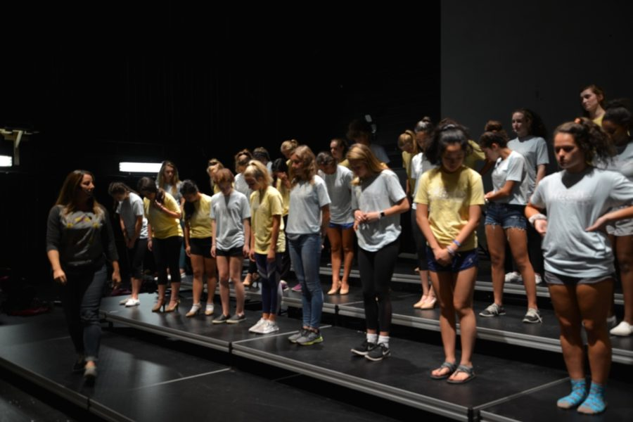 The Accents rehearse in the evening and wait for instructions on blocking choreography. Accent and senior Semanti Naiken said this week the Accents began rehearsing with costumes for their first show choir competition on Feb. 16.