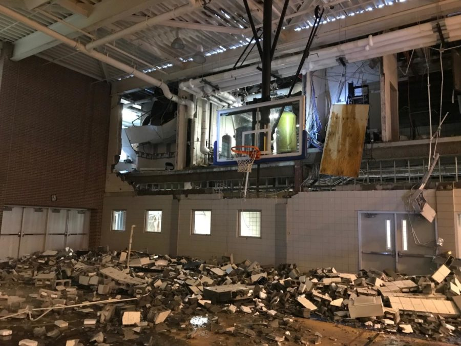 """The damage in Carmel High Schools fieldhouse. Jack Beery, President of Carmel Dads Club, said via email """"We are all thankful the two people injured are recovering and blessed that no one else was hurt."""" This photo was taken by the Emergency Restoration Team."""