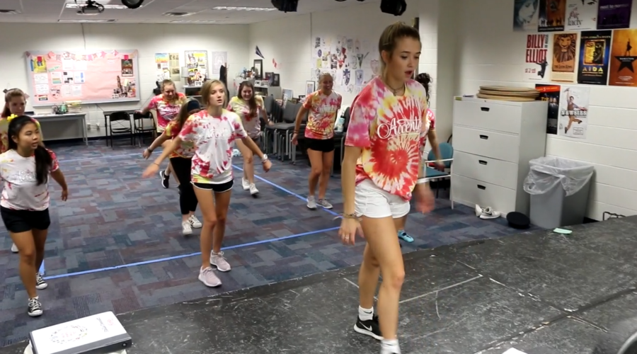 Stella Dennett, Accents dance captain and senior, leads a small section of Accents through an evening rehearsal. During the first semester, Accents had one rehearsal per week; however, they will now begin two evening rehearsals per week in preparation for their first competition.