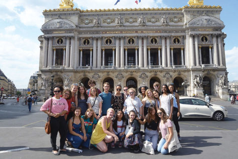 Junior Ava Hutchison (left) visits the Academie Nationale de Musique with her IUHPFL exchange group in France over the summer of 2018. Hutchinson said her summer program allowed her to learn more about France.