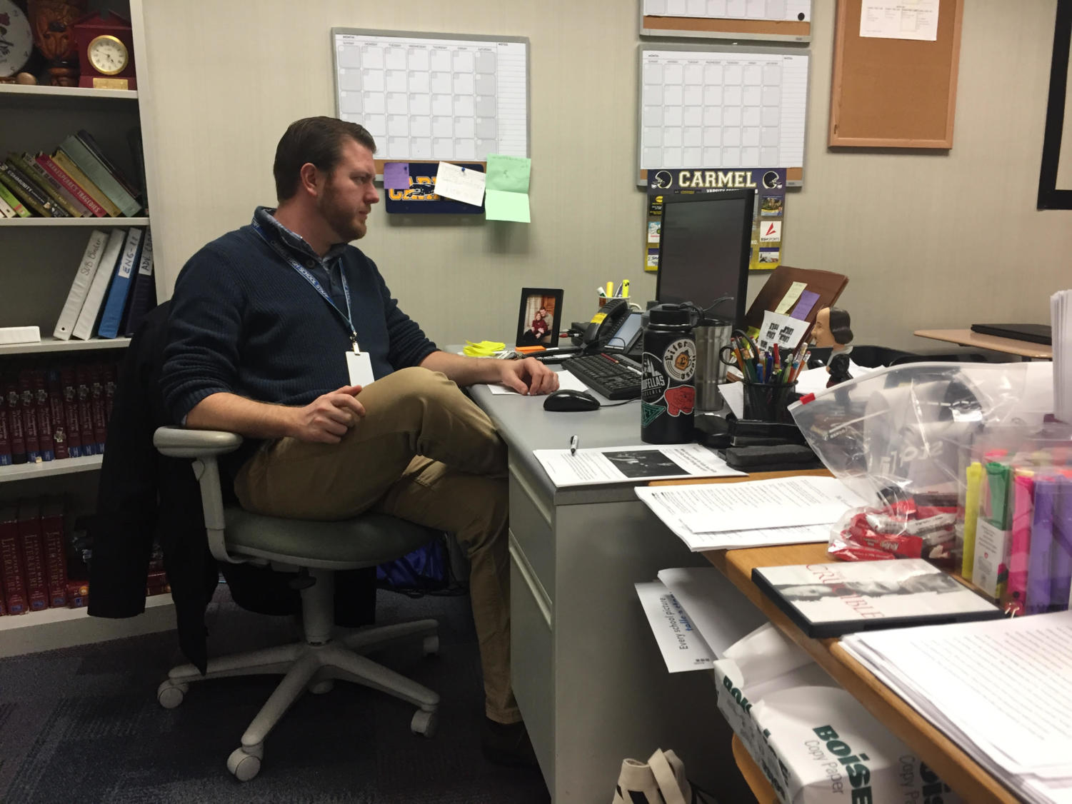Chad Andrews, Teens with a Choice sponsor, works at his desk during SRT. Andrews said the club wants to continue goals from last semester.