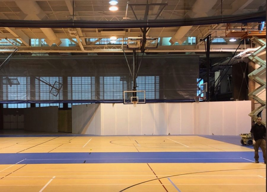 This photo was taken by the restoration team inside the fieldhouse by door 17. It is blocked off for safety reasons due to the boiler room explosion that happened in December.
