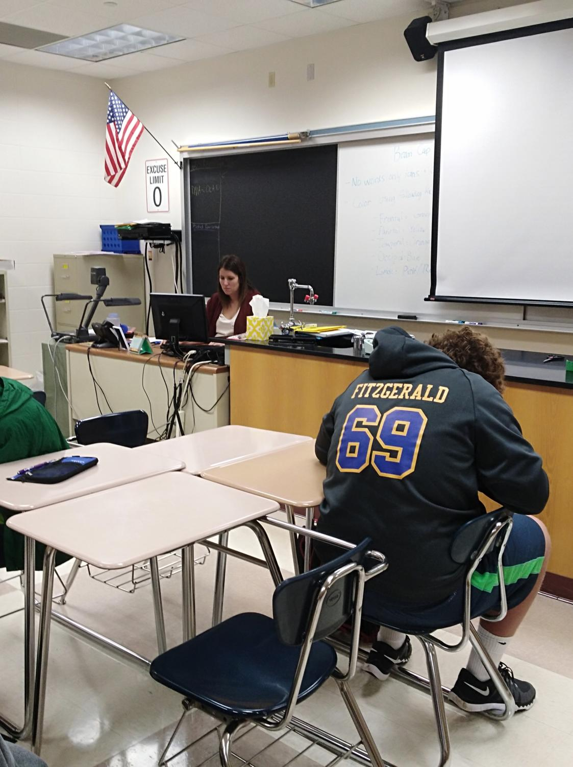 Alyssa Mastin, Club Med sponsor and science teacher, works on lesson plans during SRT. Although Mastin said she knows most of the club's events and what will be occurring at those events, she had no input or idea on how the new leaders were selected or who they actually are.