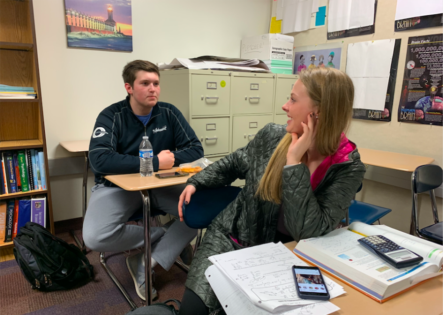 Mentor and senior Cameron Clark (left) socializes with a friend during SRT. He said he joined K-8 mentoring to help kids who might later attend CHS as well.
