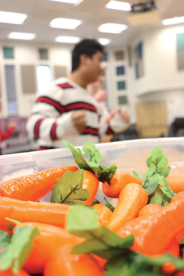 Ian Wang, New Edition member and sophomore, rehearses during SRT. The carrots are props for their set, which is based off bunnies.