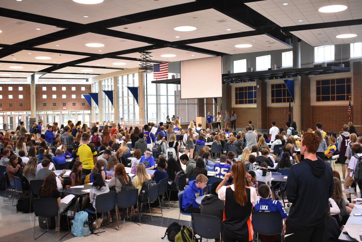 House members meet in the freshmen cafeteria during SRT. The combined House meeting took place on March 20.