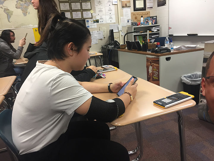 Sasha Matsuki, Teens with a Choice president and senior, works on her phone during class. Matsuki said club plans haven't changed in the past few weeks due to the business of members.