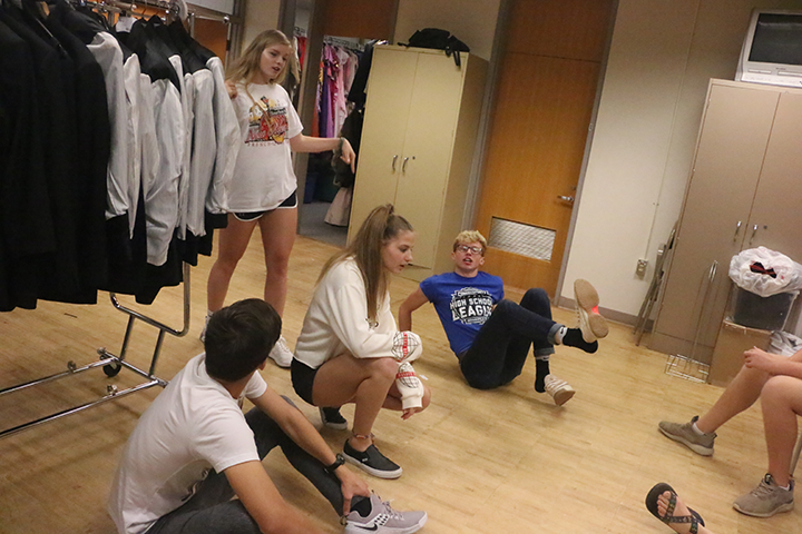 ComedySportz players get ready to play an improv game. The goal of this game was to improve comedic rhyming skills.