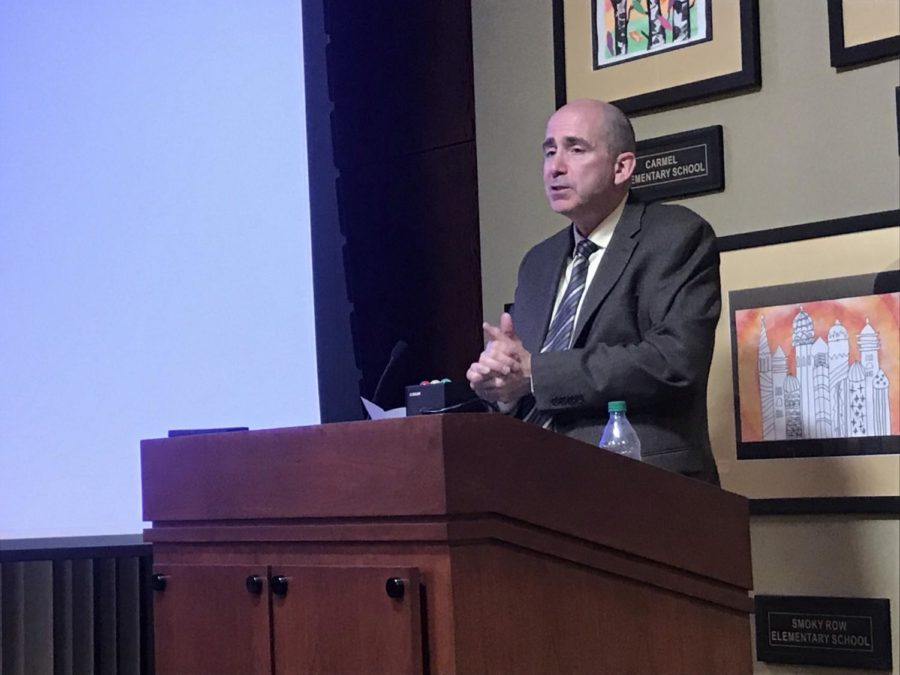 Superintendent Michael Beresford gives a superintendent report during a school board meeting on April 22. Beresford presented on many of the recent notable achievements of CHS, such as TechHOUNDS winning the Indiana State Championship.