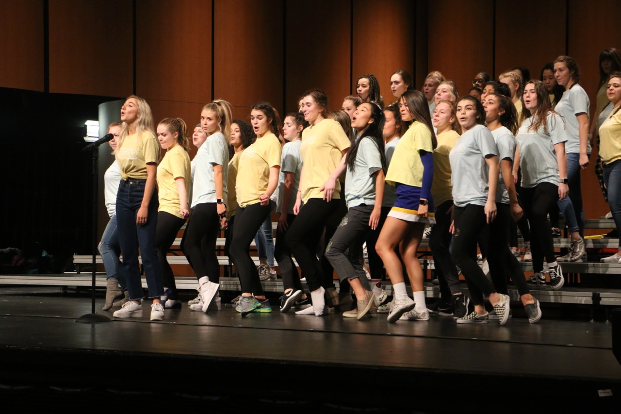 Accents rehearse a number from this past season's competition set. Accents and junior Chloe Eades (far left) said she is proud of this past year's accomplishments and looks forward to seeing where the seniors will end up after graduation.