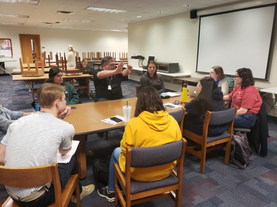 FCS teachers, as well as FCCLA Indiana president and senior Margaret O'Connor (right), plan the FCS Showcase. The Showcase takes place on April 24 in the freshman cafeteria.