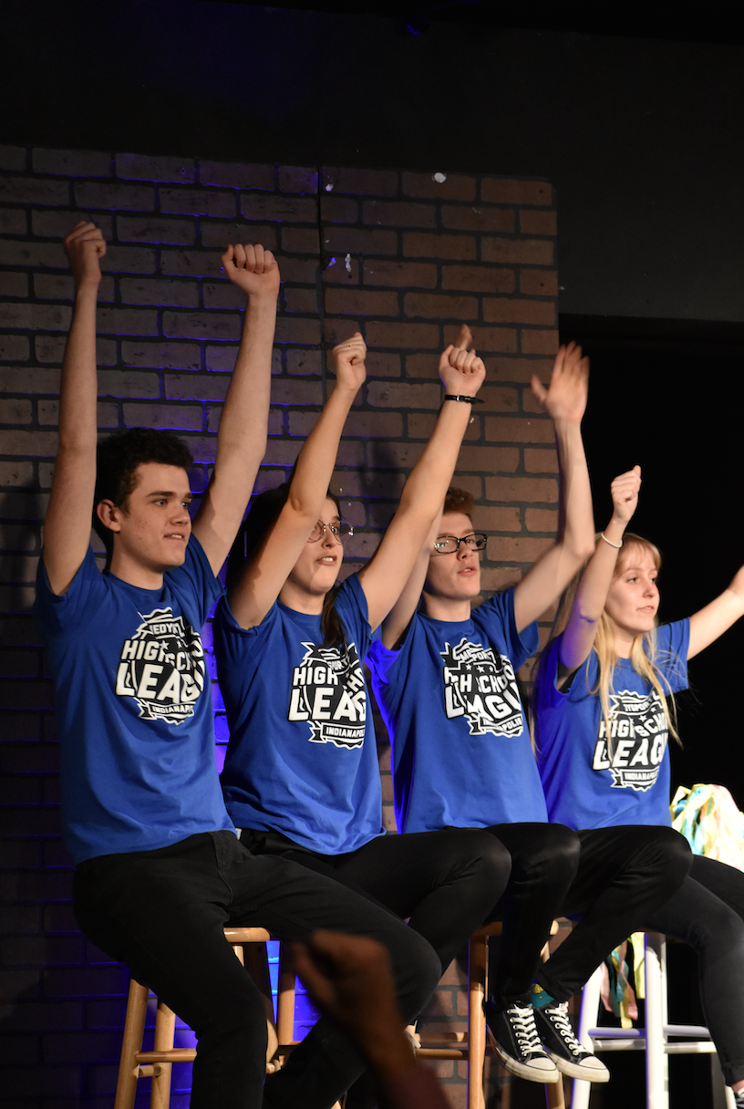 Members of ComedySportz act out comedy scenes to entertain the crowd in the Studio Theater on March 18. This group practiced their acts since September, and still have two more games to perform at.