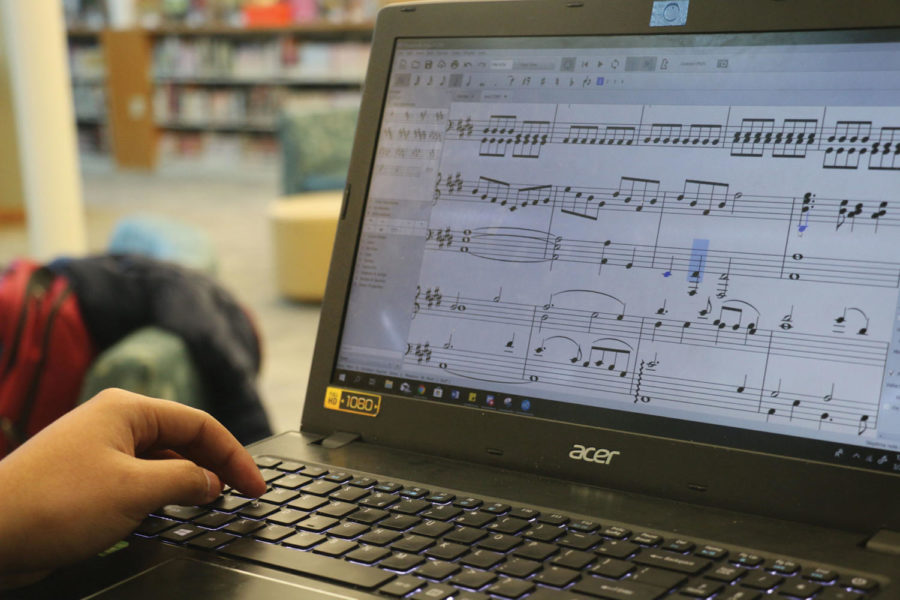 Senior Joseph Hsu uses MuseScore, a computer program to compose. Hsu said composing music takes different times