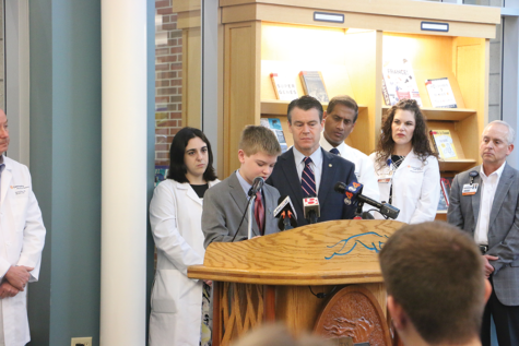 Kids against vaping: During a press conference in the media center on May 10, Warsaw Middle School student Cayman Blake, delivers a speech about the dangers of cigarettes. The conference  introduced a piece of legislation from Sen. Todd Young.