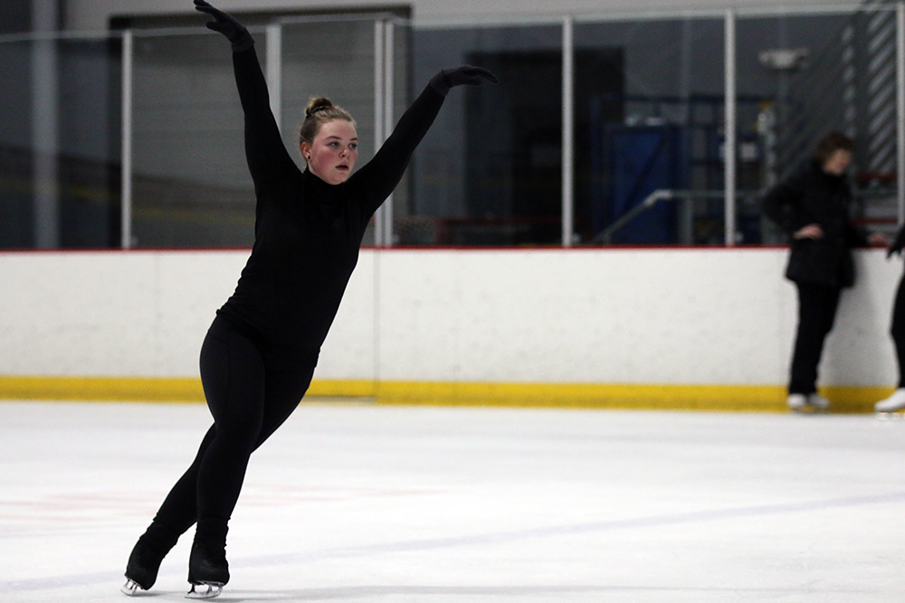 Liz Butz, figure skater and freshman, works on her program. She said she does on and off-ice training, as well as cardio workouts and strength training during practice.