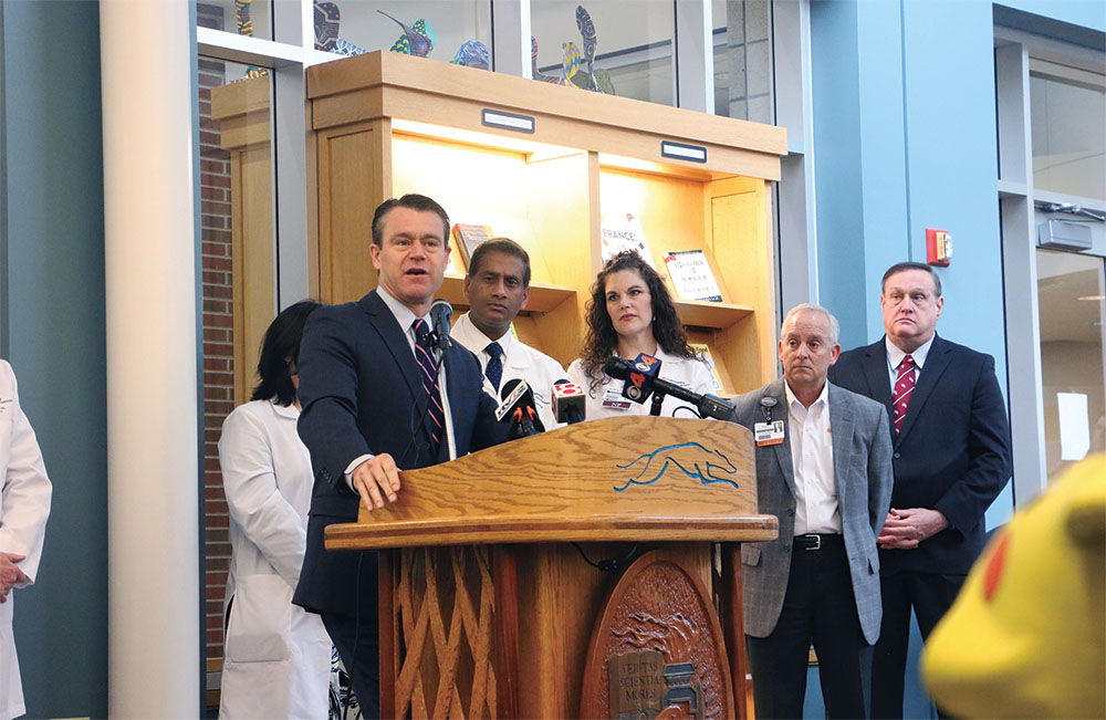 Indiana Sen. Todd Young speaks about Tobacco 21 Bill which will raise the state's smoking age to 21 during a press conference in the media center. He said passing this bill is a