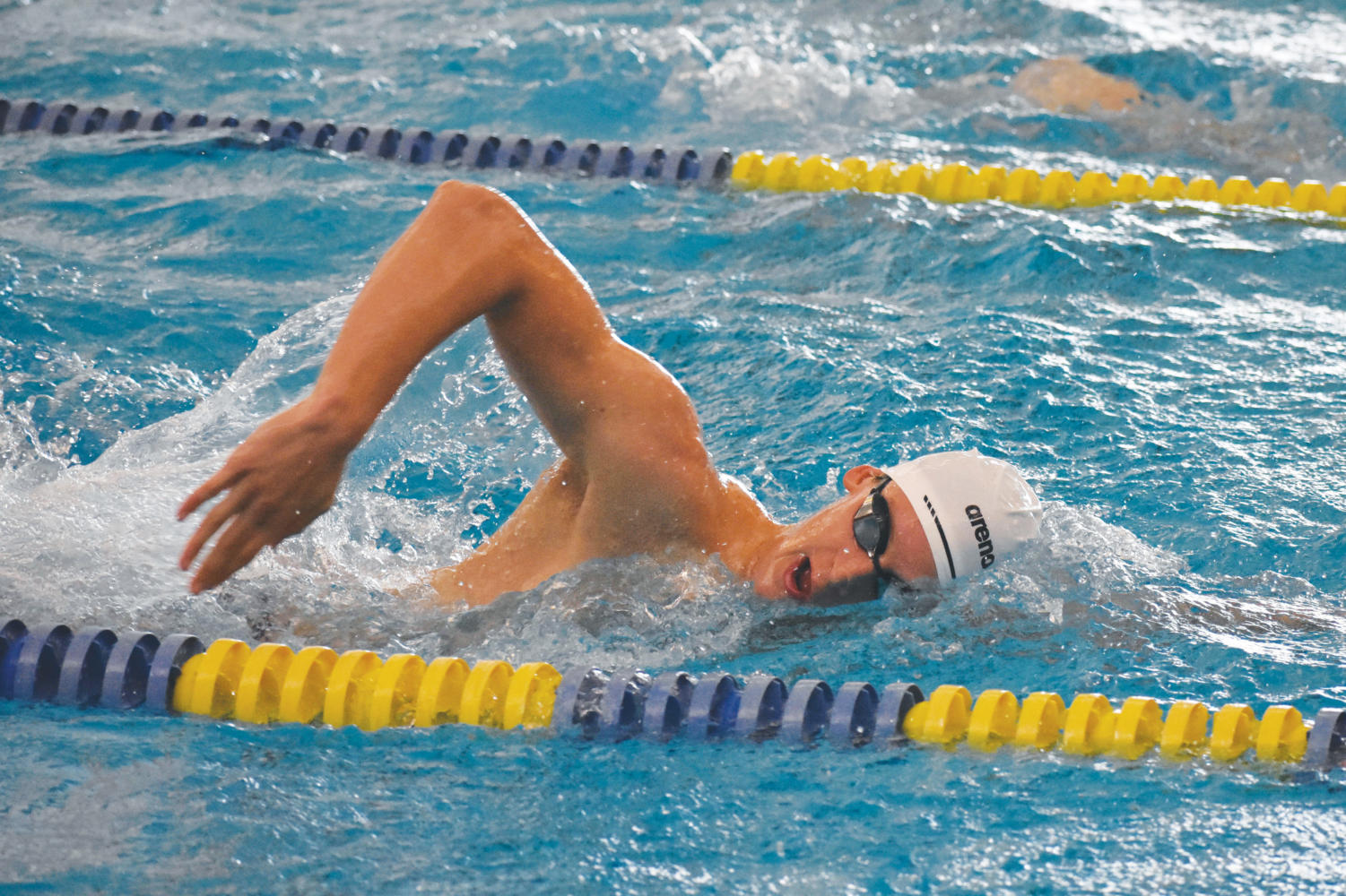 FREESTYLIN': Senior Wyatt Davis works on his freestyle. Davis won a gold medal in the 400-meter mixed medley relay.
