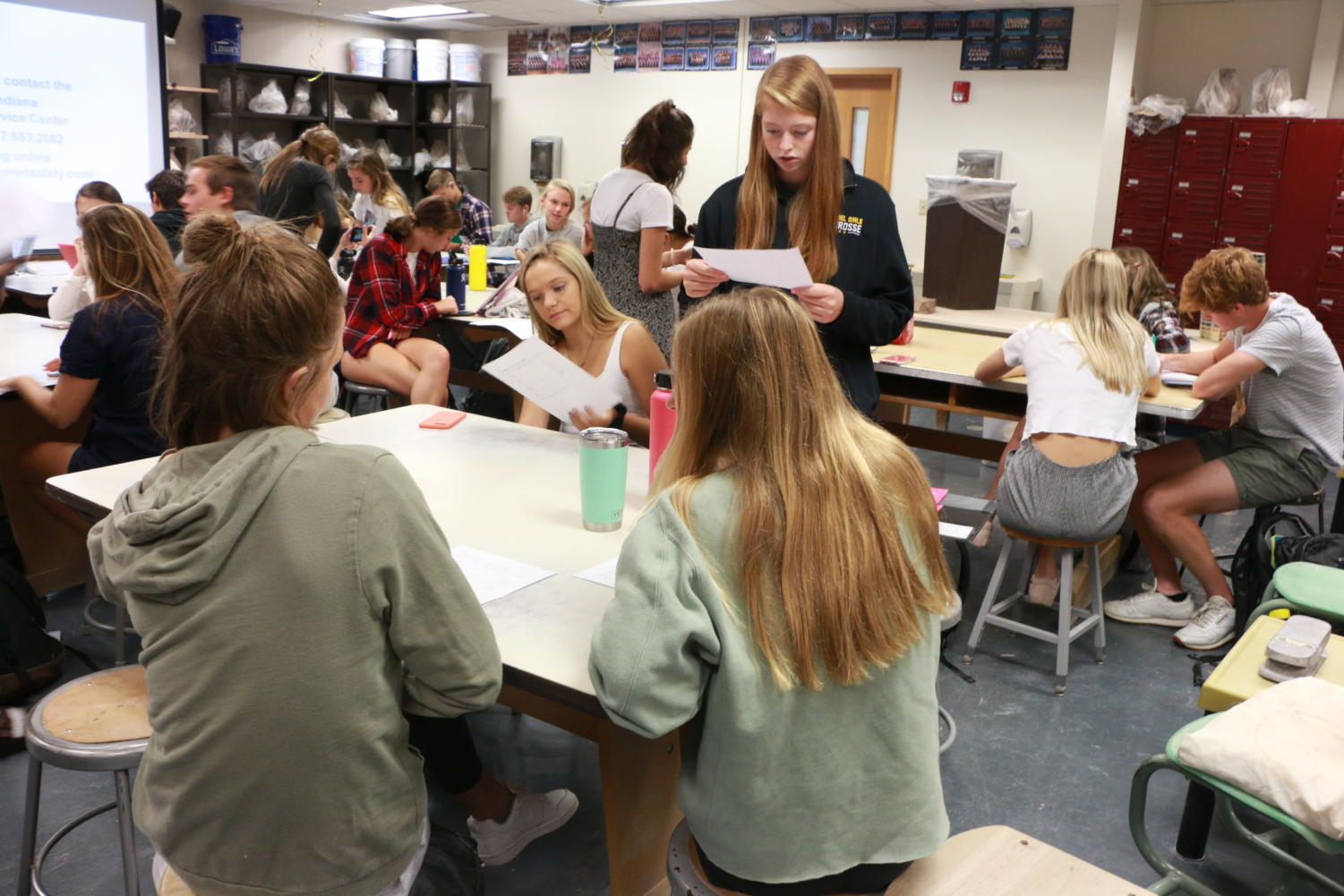 Cabinet members work together during their Cabinet SRT in C123.