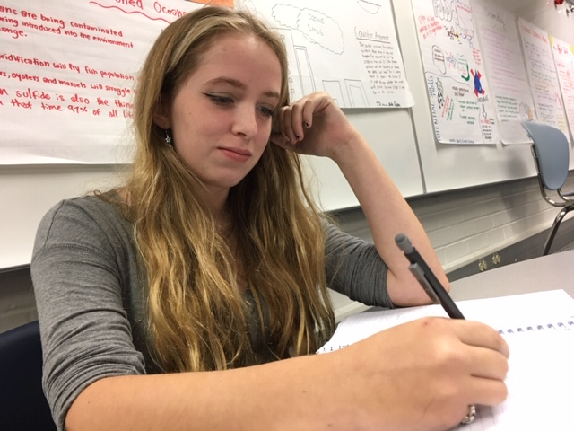 Ali Strzynski, sophomore and Model U.N. member, works on homework. Strzynski said the topic of the February conference will be Iran.