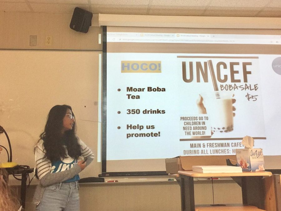 Viha Bynagari, UNICEF Club co-president and senior, presents on the club's plans for the 2019-20 school year at the Sept. 10 callout meeting. She said UNICEF Club's homecoming booth on Sept. 27 will sell bubble tea and is usually very popular.