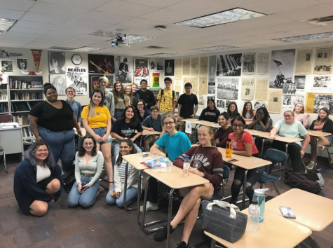 Club members pose for a picture after the first meeting of the year on Sept. 11. According to Zoe Koniaris, senior and club president, the club has been working hard in preparation for the upcoming elections.