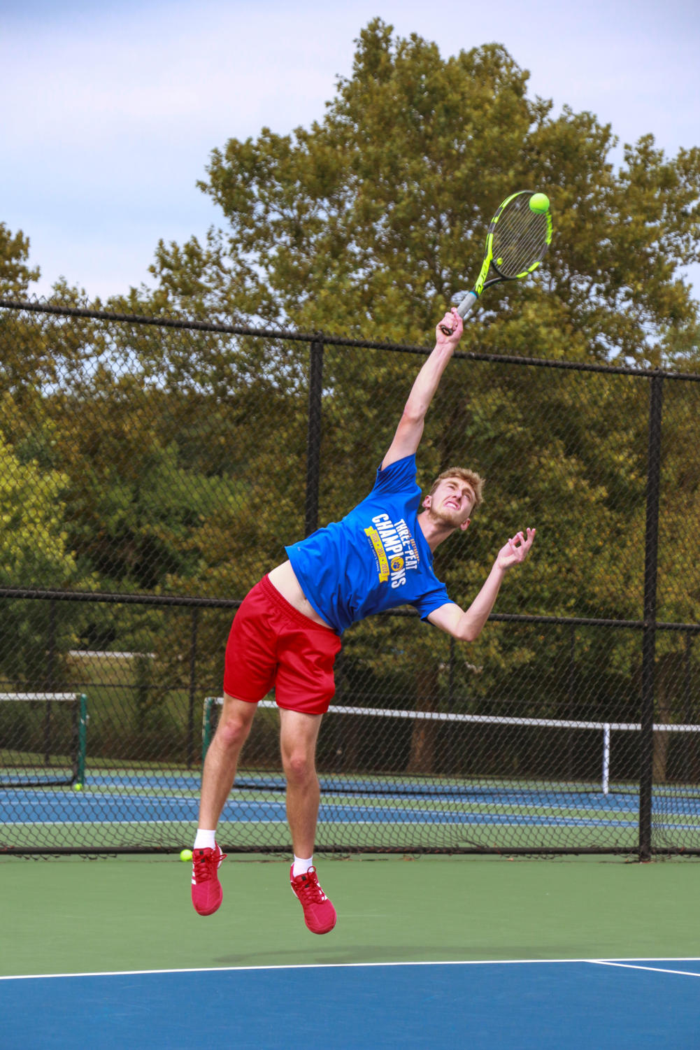 Carter Novak, junior varsity men's tennis player and senior, plays a practice doubles match against fellow CHS team member on Aug. 30. The varsity men's tennis team will compete in the MIC Championship at Ben Davis tomorrow, Sept. 21 at 8:30 a.m.