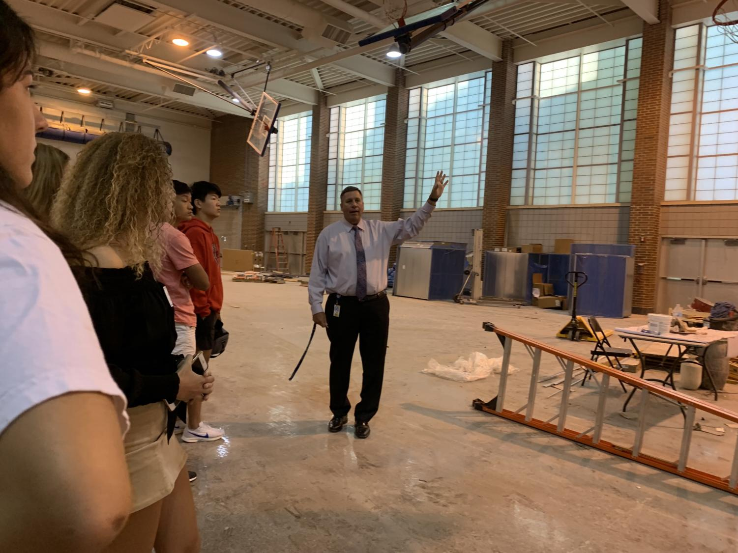 Principal Tom Harmas shows the Superintendent's/Principal's Advisory Council updates on the construction on the fieldhouse. Harmas said construction by Door 21 should wrap up by Nov. 1.