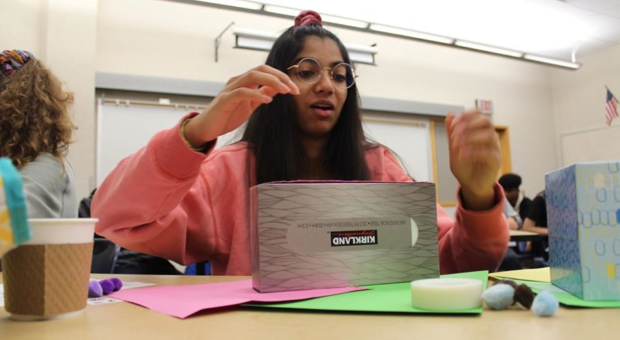 Sophomore Aanchal Agarwal decorates a tissue box at a Key Club meeting on Nov. 13. Key Club meetings take place every Gold Wednesday during late start in Media Center classrooms 3 and 4. According to Logan Tullai, Key Club executive board member and junior, most Key Club meetings involve the making of a small craft.