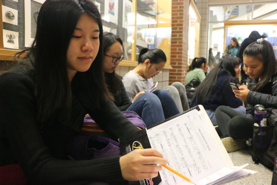 Chloe Chui, member of Symphony Orchestra and junior, looks over her music for the upcoming performance at the Midwest Band and Orchestra Clinic. Chui said she is looking forward to performing in Chicago on Dec. 18.