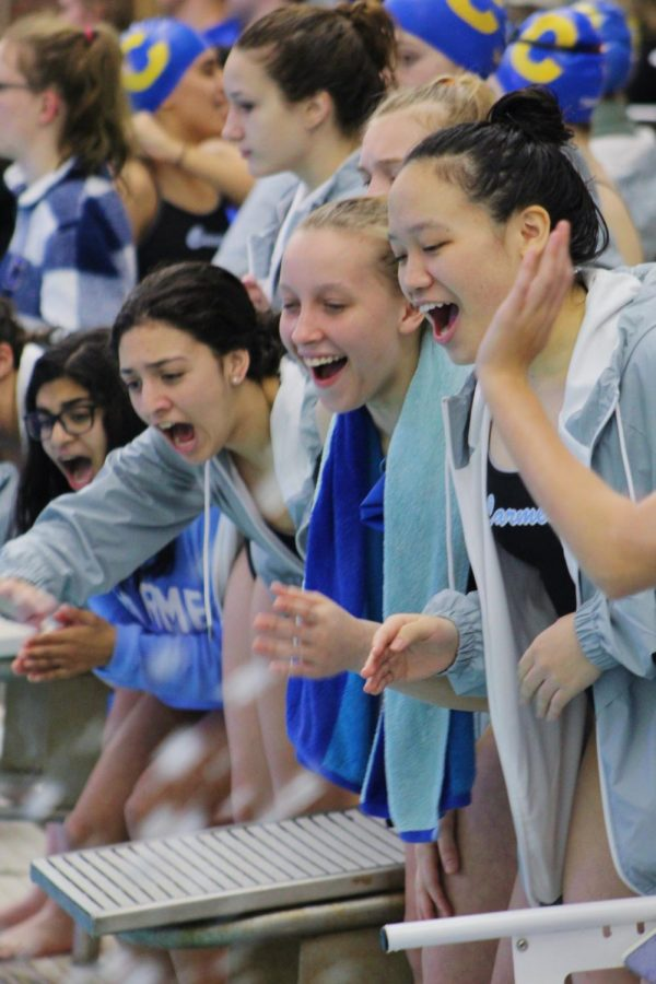 Annette Tan (far right), women's swim team member and sophomore, cheers on alongside her fellow teammates sophomore Elsa Bray (right), freshman Jenna Hattab (left) and sophomore Varsha Chandramouli (far left) during a meet against the Hamilton Southeastern High School swim team  on Dec. 17. The varsity women's swim team will complete in the IHSAA Sectional meet on Saturday Feb. 8. at Noblesville High School.
