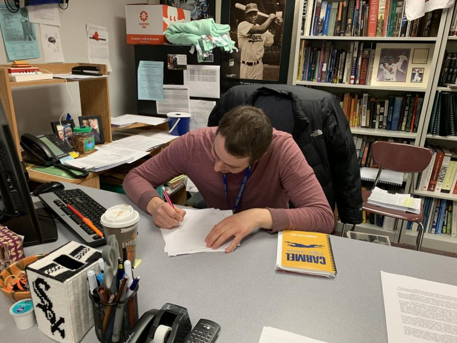 James Ziegler, Academic Super Bowl sponsor, reviews the agenda for the Feb. 6 meeting. Ziegler said the team plans to use the meeting to provide a time for individual subject teams to check in with the other teams and adjust preparation methods.