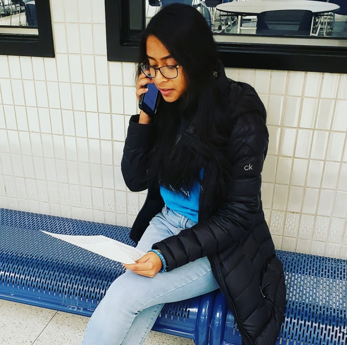 Viha Bynagari, Carmel UNICEF co-president and senior, is on the phone talking to a congressional staffer from Indiana to advocate for the end of human trafficking. On Dec. 3, Carmel UNICEF hosted its first phone-a-thon of the school year as club members called the offices of Rep. Susan Brooks, Sen. Mike Braun and Sen. Todd Young.