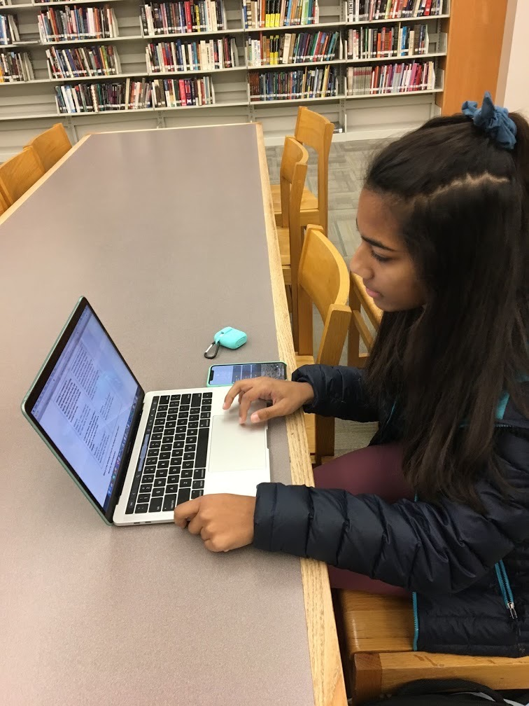 Senior Class treasurer Meera Murthy works on homework at the library during SRT. She says she finds the library as an ideal place to work due to its quiet and productive atmosphere.