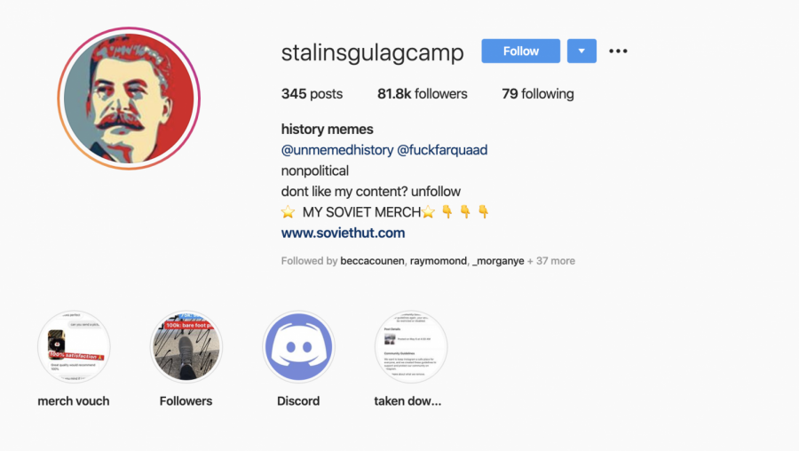 Juniors Brian Yuan and Erik Nelson manage Russian meme page, @stalinsgulagcamp on Instagram