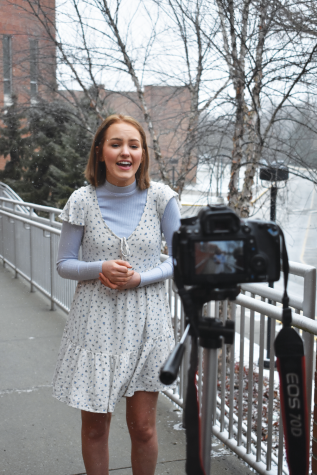 YOUTUBE SENSATION: Junior Ellie Barnett records a video of her singing a cover. Barnett, along with two others from Nashville (Tenn.) formed the  group Dae3 where they post videos on YouTube.