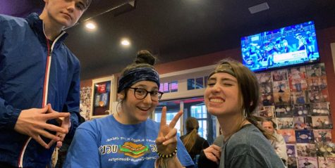 Sophomore Caroline Scharf (right) takes a photo with her friends at Bub's before the COVID-19 pandemic.