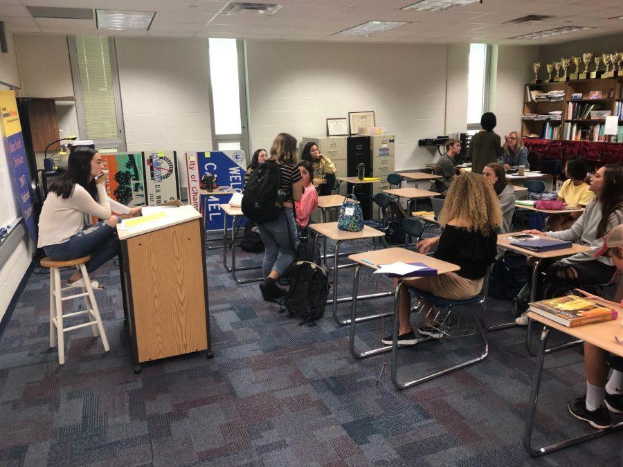 "Student body president Madeline ""Maddie"" Heath addresses the Senate SRT. Senate has shut down alongside the rest of the school."