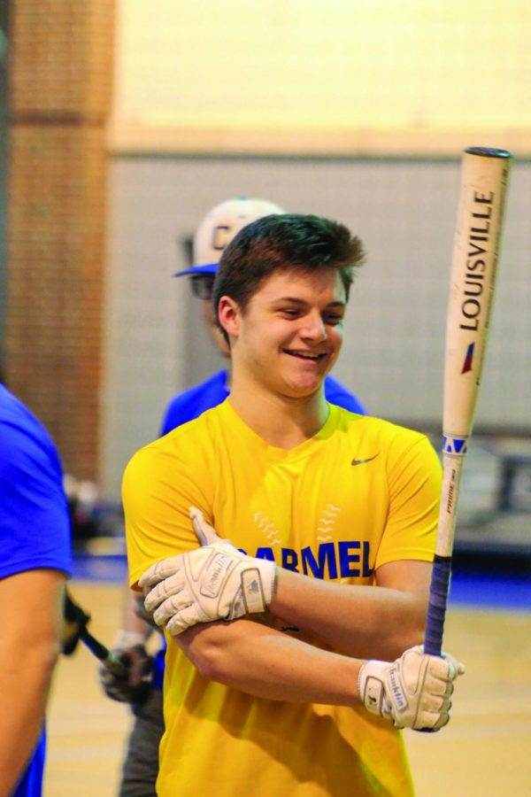 READY TO BAT:  Logan Urbanowski, baseball player and senior, gets ready to step up to bat at practice. Urbonwski said he believes the team is strong this season with a top ranking senior class.