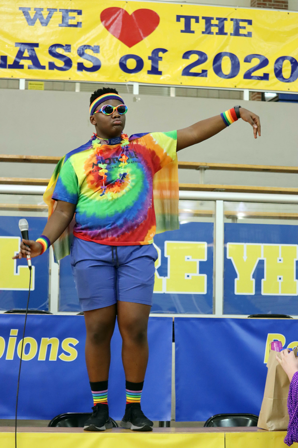 Speaker of the House Deion Ziwawo leads a group of dancers at Dance Marathon on March 1. Two other events scheduled for this year, the egg hunt and Music for Miracles, are postponed until further notice.