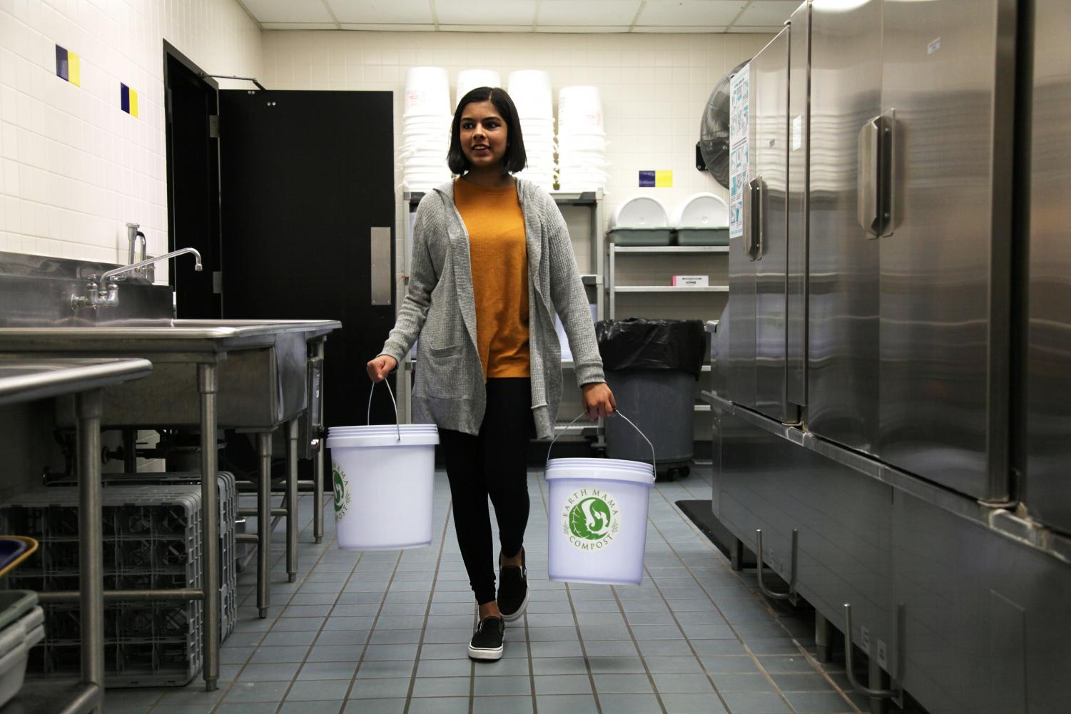 COMPOST QUEEN: Maanya Rajesh, co-leader of Green Action Club and sophomore, carries buckets of compost materials to add to her compost pile. Rajesh said she created Green Action club because she really cares about the environment and wants to bring awareness to saving the planet at CHS.