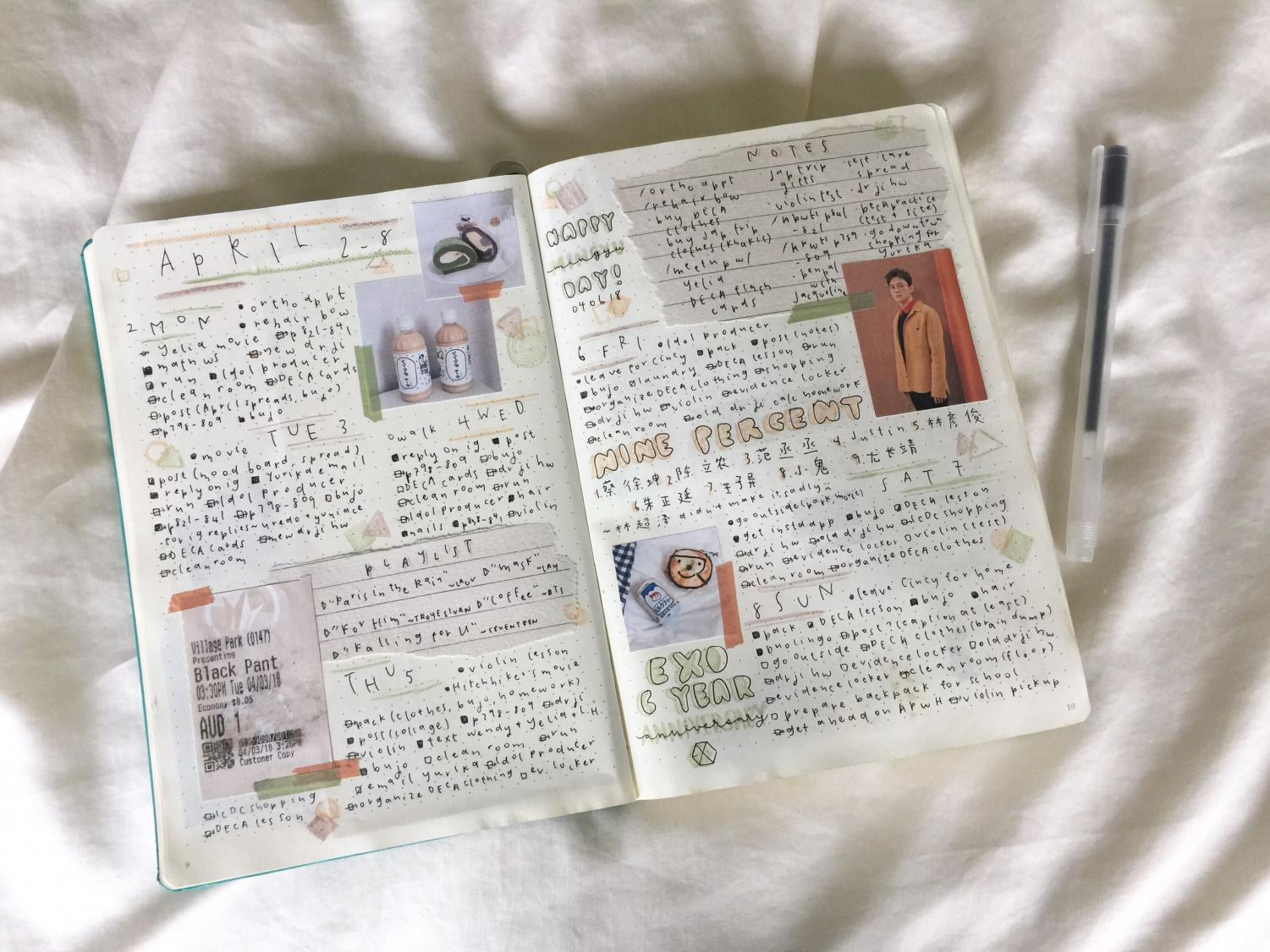 Here is a spread that writing coach Grace Xu made what happened each day on a trip she went on.