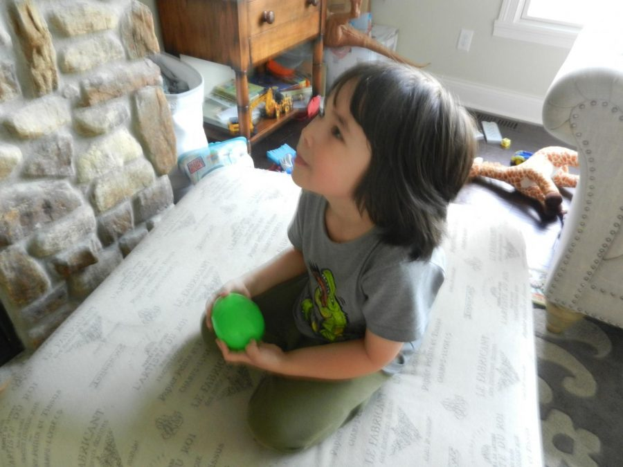 Here we see Nicholaus Dowdy, holding his green surprise egg among the mess of the living room. Being confined to the house has made his family think of new ways to surprise him. Hidden inside the egg is one of his old toys waiting to be rediscovered.