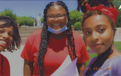 "Selam ""Selamawit"" Waclawik (right), co-founder, co-president of Black Student Alliance and senior, poses for a selfie at the Carmel Sit-In. Waclawik said she was inspired to co-found Black Student Alliance as a creative outlet for black students."