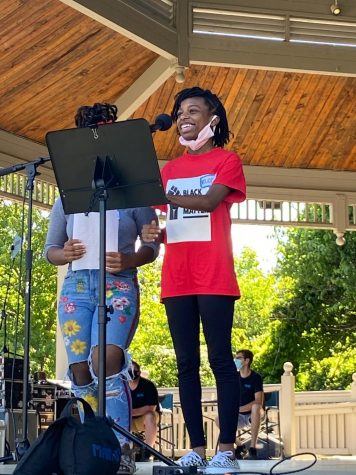 Morgan Blakey (right), Black Student Alliance co-founder, co-president and senior, speaks at the Carmel Sit-In this summer. Blakey said the Black Student Alliance has begun speaking at more rallies.