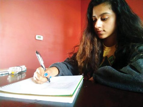 Senior Nishita Prasad writes down her to do list in a notebook to stay oranized and to make sure she gets all the points on her list done and to not stress out with all her school work and extracurriculars.