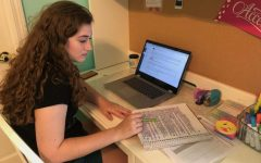 Senior Sarah Konrad takes notes for class during online-learning time.She said she had trouble for the first few days, but did her best to find a schedule to help her get things turned in on time.