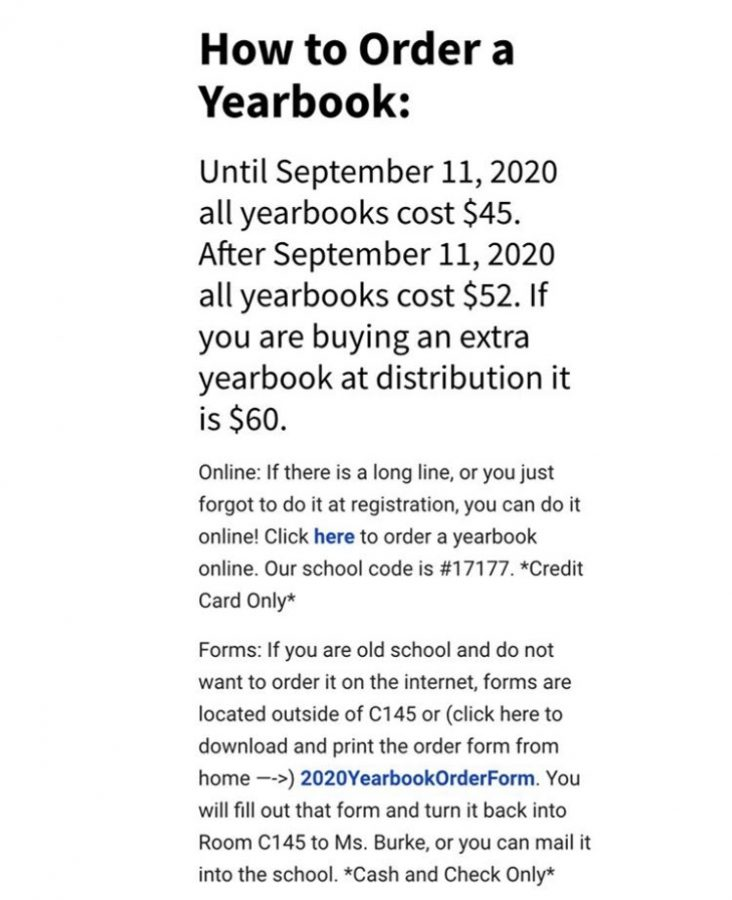Pinnacle yearbook shared this image on their Instagram page @carmelyearbook on Sept. 4. It details how to order a yearbook and its cost.